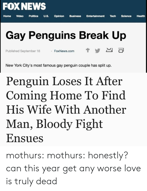 home video: FOX NEWS  Home  Video  Politics  U.S.  Opinion  Business  Entertainment  Tech  Science  Health  Gay Penguins Break Up  t y  Published September 16  FoxNews.com  New York City's most famous gay penguin couple has split up.   Penguin Loses It After  Coming Home To Find  His Wife With Another  Man, Bloody Fight  Ensues mothurs:  mothurs:  honestly? can this year get any worse  love is truly dead