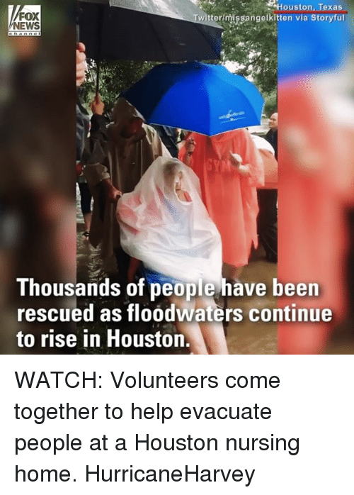 Memes, News, and Fox News: FOX  NEWS  Houston, Texas  vitterimissangelkitten via Storyfur  Thousands of people have been  rescued as floodwaters continue  to rise in Houston. WATCH: Volunteers come together to help evacuate people at a Houston nursing home. HurricaneHarvey