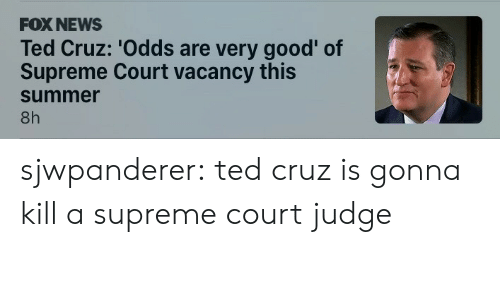 News, Supreme, and Ted: FOX NEWS  Ted Cruz: 'Odds are very good' of  Supreme Court vacancy this  summer  8h sjwpanderer: ted cruz is gonna kill a supreme court judge