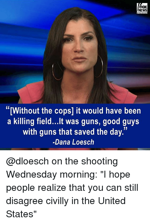 """Guns, Memes, and News: FOX  NEWS  """"[Without the cops] it would have been  a killing field...It was guns, good guys  with guns that saved the day.  -Dana Loesch @dloesch on the shooting Wednesday morning: """"I hope people realize that you can still disagree civilly in the United States"""""""