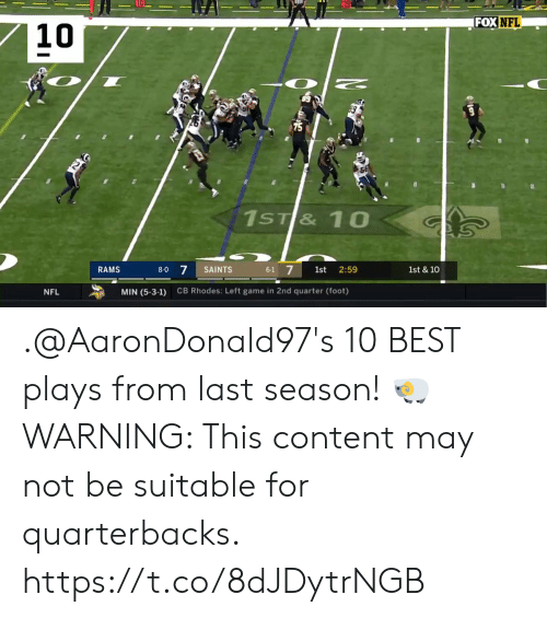 Memes, Nfl, and New Orleans Saints: FOX  NFL  10  89  75  5  8-0 7 SAINTS  6-1 7 st 2:59  RAMS  1st & 10  CB Rhodes: Left game in 2nd quarter (foot)  NFL  MIN (5-3-1) .@AaronDonald97's 10 BEST plays from last season! 🐏  WARNING: This content may not be suitable for quarterbacks. https://t.co/8dJDytrNGB