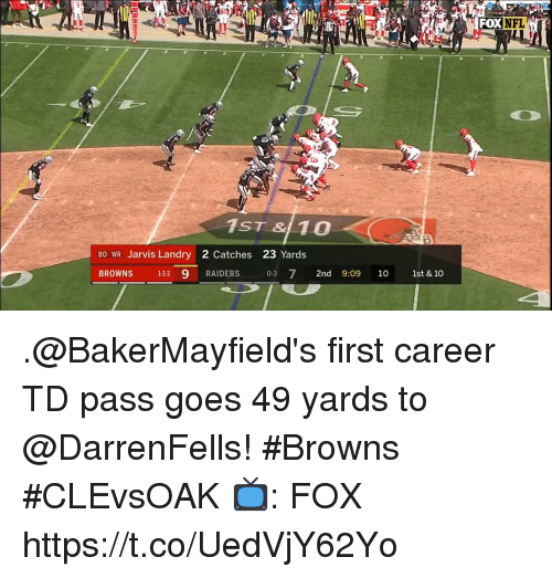 Memes, Nfl, and Browns: FOX  NFL  1ST &10  80 WR Jarvis Landry 2 Catches 23 Yards  BROWNS 111 9 RAIDERS 03 72nd 9:09 10 1st & 10 .@BakerMayfield's first career TD pass goes 49 yards to @DarrenFells! #Browns #CLEvsOAK  📺: FOX https://t.co/UedVjY62Yo