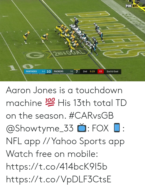 Memes, Nfl, and Sports: FOX NFL  2ND&GOA  5-3 10  7-2 7  PACKERS  2nd  9:29  03  2nd & Goal  PANTHERS Aaron Jones is a touchdown machine 💯  His 13th total TD on the season. #CARvsGB @Showtyme_33  📺: FOX 📱: NFL app // Yahoo Sports app Watch free on mobile: https://t.co/414bcK9I5b https://t.co/VpDLF3CtsE