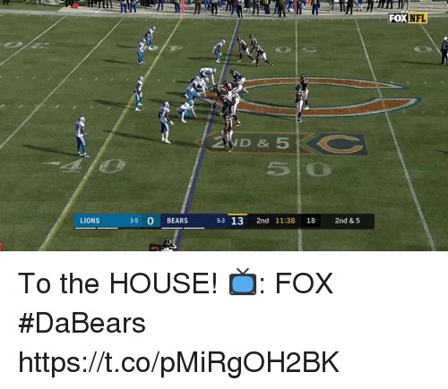 Memes, Nfl, and Bears: FOX NFL  2WD &5  LIONS  3-5 O BEARS  5-3 13 2nd 11:38 18 2nd & 5 To the HOUSE!  📺: FOX #DaBears https://t.co/pMiRgOH2BK