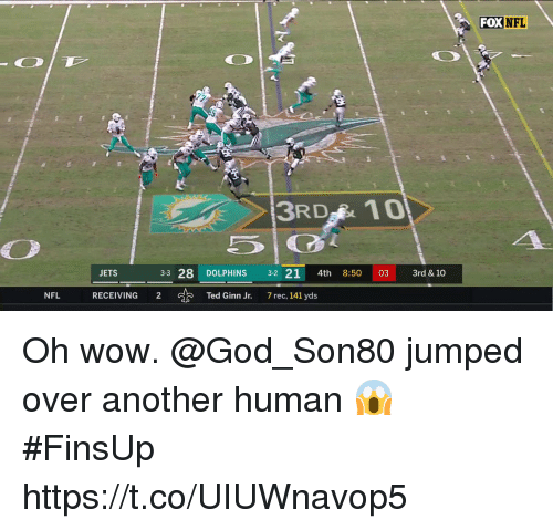 God, Memes, and Nfl: FOX  NFL  3RD 10  ETS  3-3 28 DOLPHINS 3-2 21 4th 8:50 03 3rd & 10  NFL  RECEIVING  2  Ted Ginn Jr.  7 rec, 141 yds Oh wow. @God_Son80 jumped over another human 😱 #FinsUp https://t.co/UIUWnavop5
