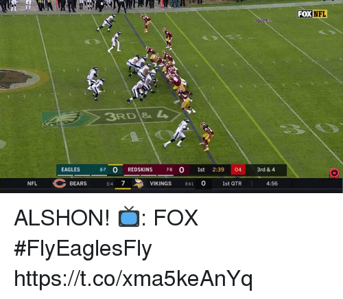 Philadelphia Eagles, Memes, and Nfl: FOX  NFL  3RD 4  EAGLES  87 0 REDSKINS 78 0 1st 2:39 04 3rd & 4  NFL BEARS  VIKINGS 861 1st OTR  11-4 7  0  1st QTR  4:56 ALSHON!  📺: FOX #FlyEaglesFly https://t.co/xma5keAnYq