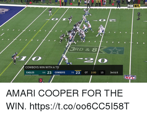 Dallas Cowboys, Philadelphia Eagles, and Memes: FOX NFL  3RD &8  2O  COWBOYS WIN WITH ATD  EAGLES  6-6 23 COWBOYS 7-5 23 OT 2:00 15 3rd & 8  | N FL)  3 AMARI COOPER FOR THE WIN. https://t.co/oo6CC5I58T