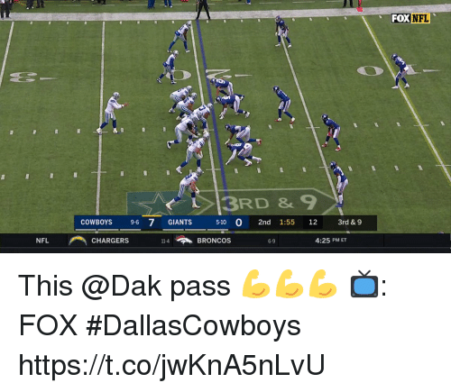 Dallas Cowboys, Memes, and Nfl: FOX NFL  3RD &9  COWBOYS 9-6 7 GIANTS  5-10 0 2nd 1:55 12 3rd & 9  NFLCHARGERS 14BRONCOS  4:25 PM ET  6-9 This @Dak pass 💪💪💪  📺: FOX #DallasCowboys https://t.co/jwKnA5nLvU