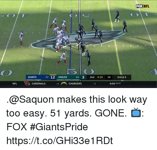 Philadelphia Eagles, Memes, and Nfl: FOX NFL  56  GIANTS 37 12 EAGLES 46 3 2nd 4:18 16 2nd & 6  NFL  닐 CARDINALS  28-i, CHARGERS  7-3  4:05 PM ET .@Saquon makes this look way too easy.  51 yards. GONE.  📺: FOX #GiantsPride https://t.co/GHi33e1RDt