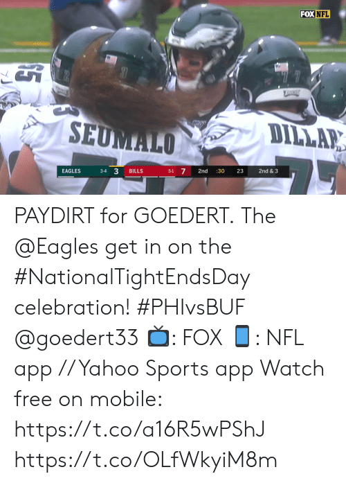 """celebration: FOX NFL  """"77  TRRE  SEUMALO  DILLAR  3-4 3  5-1 7  EAGLES  BILLS  2nd  :30  23  2nd & 3 PAYDIRT for GOEDERT.  The @Eagles get in on the #NationalTightEndsDay celebration! #PHIvsBUF @goedert33   📺: FOX 📱: NFL app // Yahoo Sports app Watch free on mobile: https://t.co/a16R5wPShJ https://t.co/OLfWkyiM8m"""