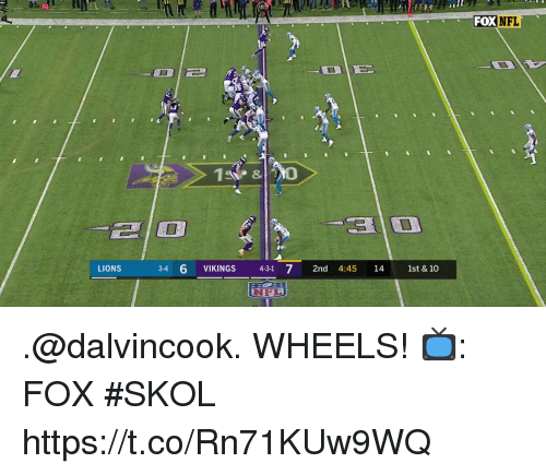Memes, Nfl, and Lions: FOX  NFL  8  LIONS 34 6 VIKINGS 431 7 2nd 4:45 14 1st & 10 .@dalvincook. WHEELS!  📺: FOX #SKOL https://t.co/Rn71KUw9WQ