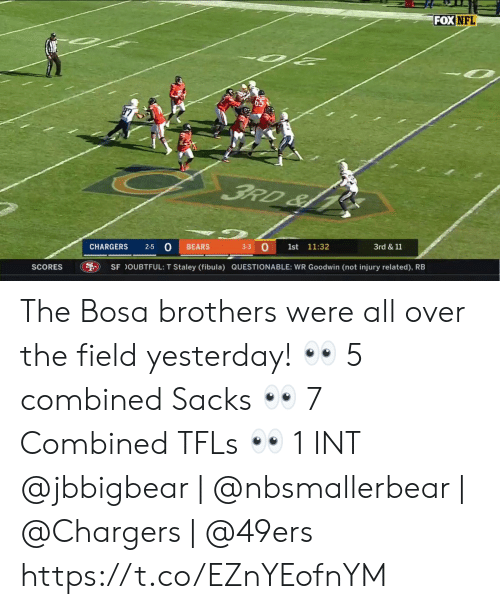 Questionable: FOX NFL  FRD&  3-3 O  2-5 0  CHARGERS  BEARS  1st  11:32  3rd &11  SCORES  SF OUBTFUL: T Staley (fibula) QUESTIONABLE: WR Goodwin (not injury related), RB The Bosa brothers were all over the field yesterday! 👀 5 combined Sacks 👀 7 Combined TFLs 👀 1 INT  @jbbigbear   @nbsmallerbear   @Chargers   @49ers https://t.co/EZnYEofnYM