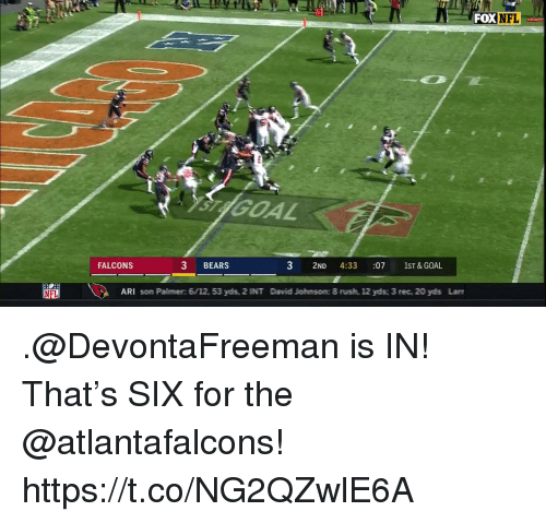 arie: FOX NFL  GOAL  FALCONS  3 BEARS  3 2ND 4:33 :07 1ST&GOAL  ARI som Palimer: 6/12, 53 ydis, 2 INIT Dawid Joihmsomc 8 rusih, 12 ydis 3 rec, 20 ydis Lan .@DevontaFreeman is IN!  That's SIX for the @atlantafalcons! https://t.co/NG2QZwlE6A
