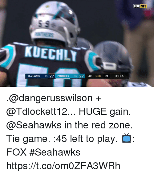 kuechly: FOX  NFL  KUECHLY  SEAHAWKS 5-5 27 PANTHERS 64 27 4th 1:08 21 3rd & 5 .@dangerusswilson + @Tdlockett12... HUGE gain.  @Seahawks in the red zone. Tie game. :45 left to play.  📺: FOX #Seahawks https://t.co/om0ZFA3WRh