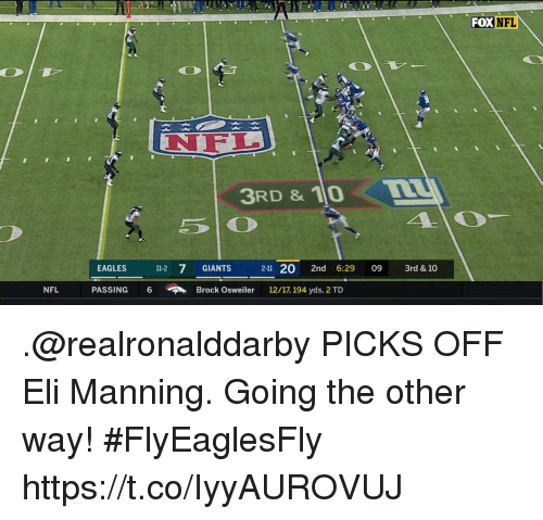 Philadelphia Eagles, Eli Manning, and Memes: FOX NFL  NFL  3RD & 10L  EAGLES 11-2 7 GIANTS 2-11 20 2nd 6:29 09 r & 10  NFL  PASSING  6  Brock Osweiler  12/17, 194 yds, 2 TD .@realronalddarby PICKS OFF Eli Manning.  Going the other way! #FlyEaglesFly https://t.co/IyyAUROVUJ
