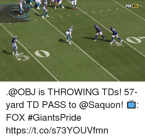Memes, Nfl, and 🤖: FOX NFL .@OBJ is THROWING TDs!  57-yard TD PASS to @Saquon!  📺: FOX #GiantsPride https://t.co/s73YOUVfmn