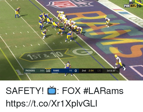 Memes, Nfl, and Packers: FOX  NFL  PACKERS 3-21 10 RAMS  7-0  2nd 2:54 05 1st & 10 SAFETY!   📺: FOX #LARams https://t.co/Xr1XplvGLl