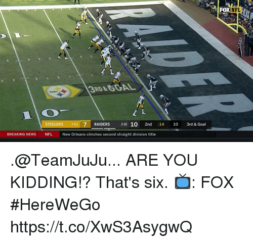 Memes, Nfl, and Goal: FOX NFL  RD &  STEELERS 7-41 7 RAIDERS 2-10 10 2nd :14 10 3rd & Goal  BREAKING NEWSNFL  New Orleans clinches second straight division title .@TeamJuJu... ARE YOU KIDDING!?  That's six.  📺: FOX #HereWeGo https://t.co/XwS3AsygwQ