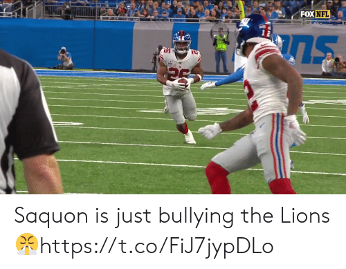 Nfl, Lions, and Fox: FOX NFL Saquon is just bullying the Lions 😤https://t.co/FiJ7jypDLo
