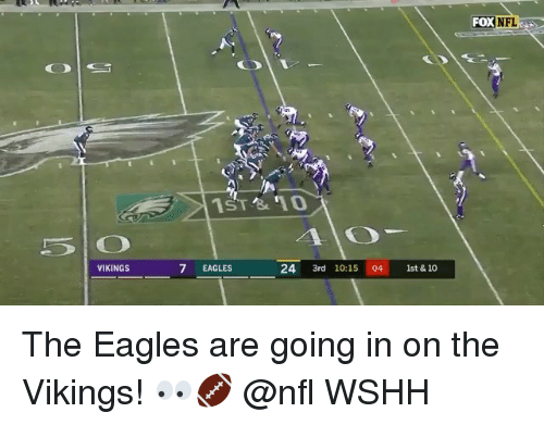 Philadelphia Eagles, Memes, and Nfl: FOX NFL  VIKINGS  7 EAGLES  24 3rd 10:15 04 1st&10 The Eagles are going in on the Vikings! 👀🏈 @nfl WSHH