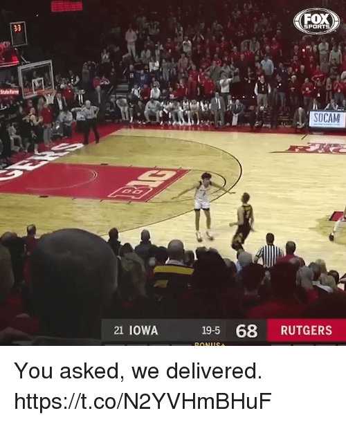 Memes, Sports, and Iowa: FOX  SPORTS  SOCAM  21 IOWA  19-5 68 RUTGERS You asked, we delivered. https://t.co/N2YVHmBHuF