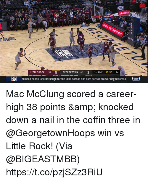Head, Memes, and Nfl: FOX  State Farm  LITTLE ROCK 57 5 GEORGETOWN 8-3 3 1st Half 17:50 14  FOULS: 1  NFL  ed head coach John Harbaugh for the 2019 season and both parties are working towardsa  YES Mac McClung scored a career-high 38 points & knocked down a nail in the coffin three in @GeorgetownHoops win vs Little Rock!   (Via @BIGEASTMBB)    https://t.co/pzjSZz3RiU