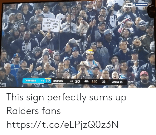Football, Nfl, and Sports: FOX TWORK  IMISSED M  COURT DATE  TO SEE THIS  GAME  SWOOPIN  2nd & 15  22  8:20  4-4 20  4th  ER  4-5 17 RAIDERS  CHARGERS This sign perfectly sums up Raiders fans https://t.co/eLPjzQ0z3N