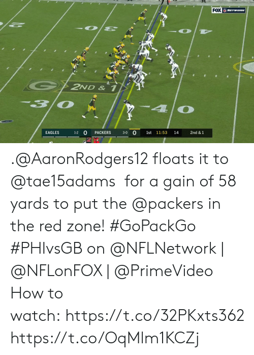 Philadelphia Eagles, Memes, and How To: FOX WETWORK  G2ND & 1  30  4  3-0 0  EAGLES  PACKERS  1st 11:53  14  2nd &1  1-2 .@AaronRodgers12 floats it to @tae15adams  for a gain of 58 yards to put the @packers in the red zone! #GoPackGo  #PHIvsGB on @NFLNetwork | @NFLonFOX | @PrimeVideo How to watch: https://t.co/32PKxts362 https://t.co/OqMlm1KCZj