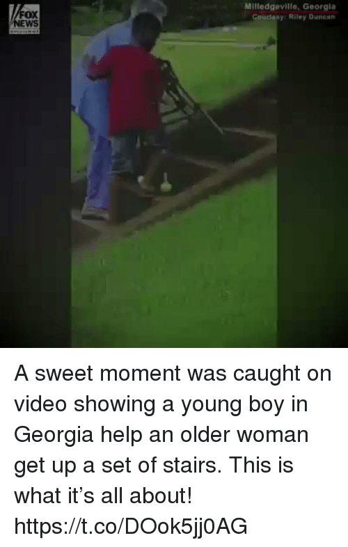 Memes, Georgia, and Help: FOX  wS  Milledgeville, Georgia  Coudesy: Riley Duncan A sweet moment was caught on video showing a young boy in Georgia help an older woman get up a set of stairs. This is what it's all about! https://t.co/DOok5jj0AG
