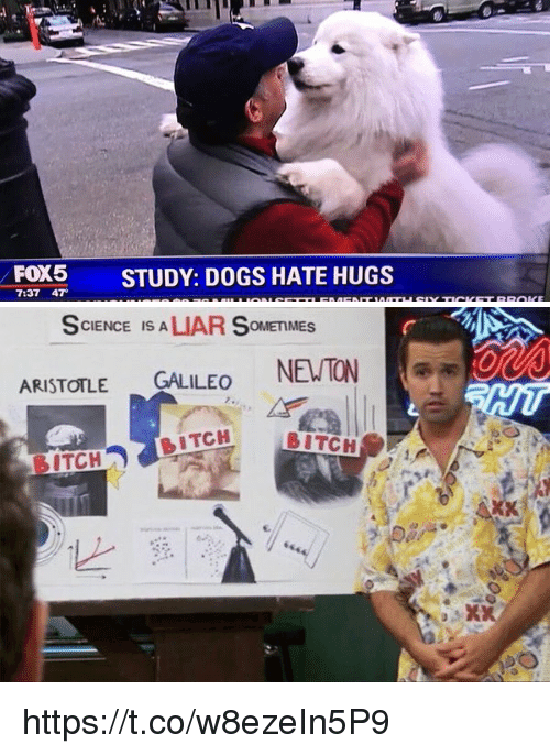 Bitch, Dogs, and Aristotle: FOX5  STUDY: DOGS HATE HUGS  7:37 47   SCIENCE IS A  OMEMMES  ARISTOTLE  GALILEO  NEWTON  DITCH  BITCH https://t.co/w8ezeIn5P9