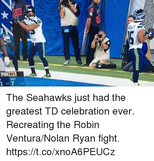 Football, Nfl, and Sports: FOXNFL  DET  3.3 The Seahawks just had the greatest TD celebration ever.   Recreating the Robin Ventura/Nolan Ryan fight.   https://t.co/xnoA6PEUCz