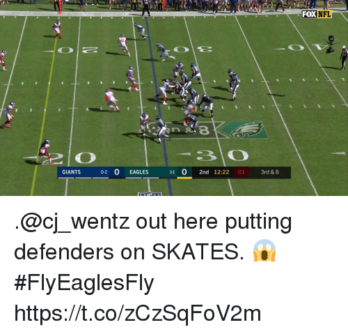 Skates: FOXNFL  GIANTS 0-2 0 EAGLES  11 0 2nd 12:22 01 3rd & 8 .@cj_wentz out here putting defenders on SKATES. 😱 #FlyEaglesFly https://t.co/zCzSqFoV2m