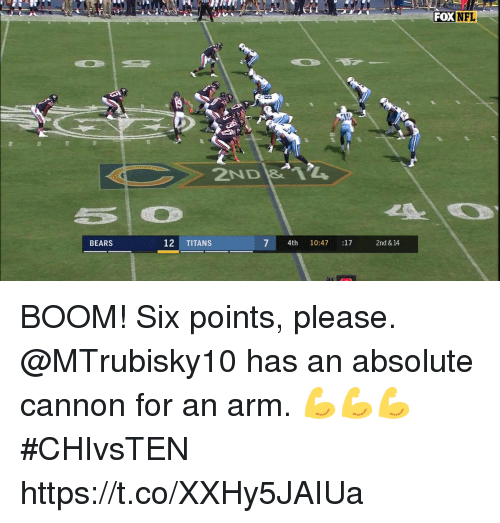 Memes, Bears, and Boom: FOXNFL  ND  BEARS  12 TITANS  7 4th 10:47 :17  2nd & 14 BOOM! Six points, please.  @MTrubisky10 has an absolute cannon for an arm. 💪💪💪 #CHIvsTEN https://t.co/XXHy5JAIUa