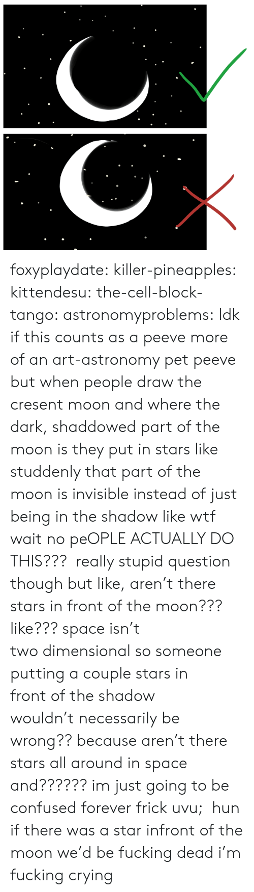 Dimensional: foxyplaydate:  killer-pineapples:  kittendesu:  the-cell-block-tango:  astronomyproblems:  Idk if this counts as a peeve more of an art-astronomy pet peeve but when people draw the cresent moon and where the dark, shaddowed part of the moon is they put in stars like studdenly that part of the moon is invisible instead of just being in the shadow like wtf  wait no peOPLE ACTUALLY DO THIS???  really stupid question though but like, aren't there stars in front of the moon??? like??? space isn't twodimensionalso someone putting a couple starsin frontof the shadow wouldn'tnecessarilybe wrong?? because aren't there stars all around in space and?????? im just going to be confused forever frick uvu;  hun if there was a star infront of the moon we'd be fucking dead  i'm fucking crying
