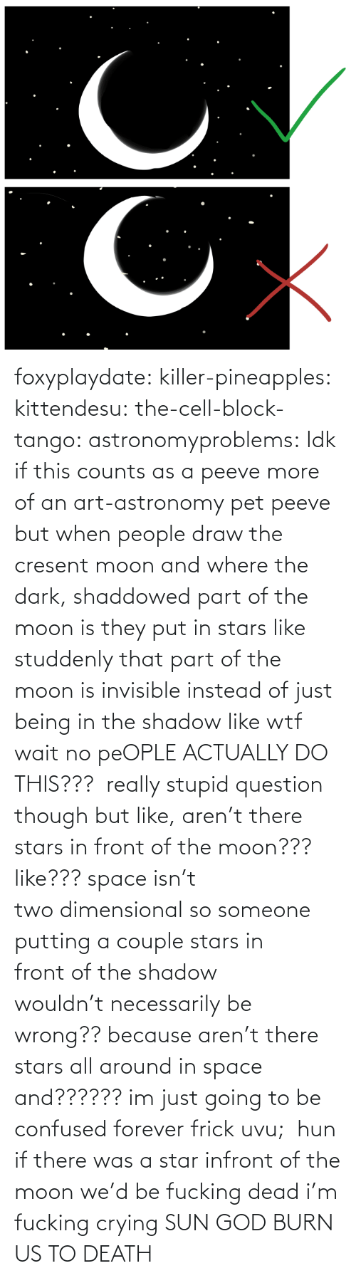 putting: foxyplaydate: killer-pineapples:  kittendesu:  the-cell-block-tango:  astronomyproblems:  Idk if this counts as a peeve more of an art-astronomy pet peeve but when people draw the cresent moon and where the dark, shaddowed part of the moon is they put in stars like studdenly that part of the moon is invisible instead of just being in the shadow like wtf  wait no peOPLE ACTUALLY DO THIS???   really stupid question though but like, aren't there stars in front of the moon??? like??? space isn't two dimensional so someone putting a couple stars in front of the shadow wouldn't necessarily be wrong?? because aren't there stars all around in space and?????? im just going to be confused forever frick uvu;   hun if there was a star infront of the moon we'd be fucking dead  i'm fucking crying    SUN GOD BURN US TO DEATH