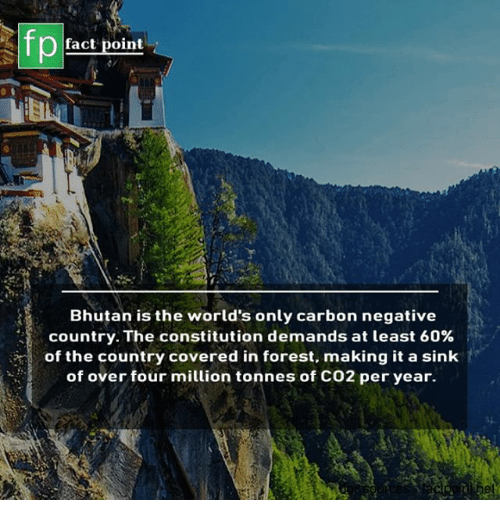 Memes, Constitution, and Bhutan: fp  fact point  Bhutan is the world's only carbon negative  country. The constitution demands at least 60%  of the country covered in forest, making it a sink  of over four million tonnes of CO2 per year.