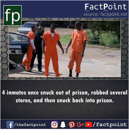 Memes, Prison, and Back: fp  FactPoint  source: factpoint.net  4 inmates once snuck out of prison, robbed several  stores, and then snuck back into prison.  /thefactpoint O