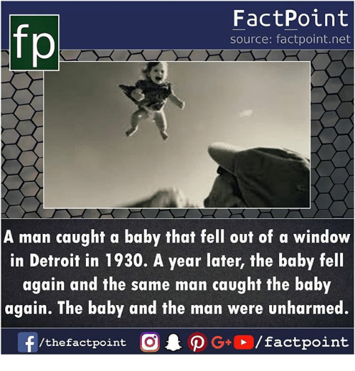 Detroit, Memes, and Baby: fp  FactPoint  source: factpoint.net  A man caught a baby that fell out of a window  in Detroit in 1930. A year later, the baby fell  again and the same man caught the baby  again. The baby and the man were unharmed.  f/the factpoint  O.PG÷®/factpoint