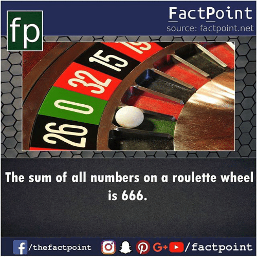 DeMarcus Cousins, Memes, and 🤖: fp  FactPoint  source: factpoint.net  The sum of all numbers on a roulette wheel  is 666.  /thefactpoint O