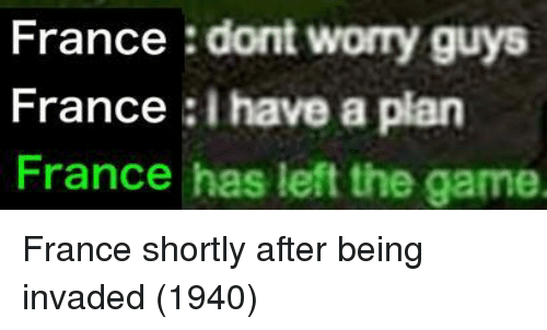 i have a plan: France : dont worry guys  France :I have a plan  France has left the game. France shortly after being invaded (1940)
