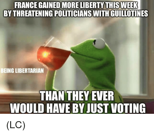 Memes, France, and Liberty: FRANCE GAINED MORE LIBERTY THISWEEK  BY THREATENING POLITICIANSWITH GUILLOTINES  BEING LIBERTARIAN  THAN THEYEVER  WOULD HAVE BY JUST VOTING (LC)