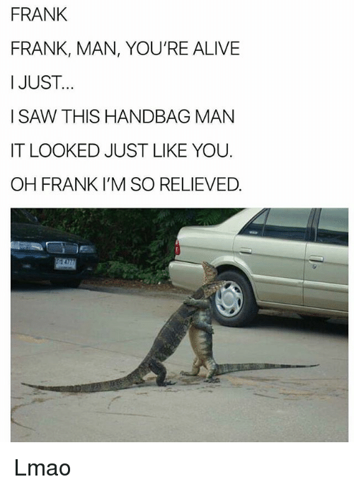 Alive, Lmao, and Memes: FRANK  FRANK, MAN, YOU'RE ALIVE  I JUST..  I SAW THIS HANDBAG MAN  IT LOOKED JUST LIKE YOU.  OH FRANK I'M SO RELIEVED Lmao