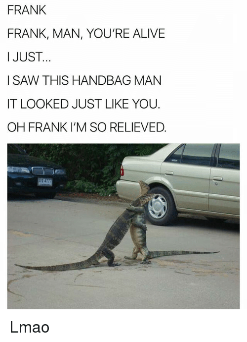 Alive, Funny, and Lmao: FRANK  FRANK, MAN, YOU'RE ALIVE  I JUST..  I SAW THIS HANDBAG MAN  IT LOOKED JUST LIKE YOU  OH FRANK I'M SO RELIEVED. Lmao