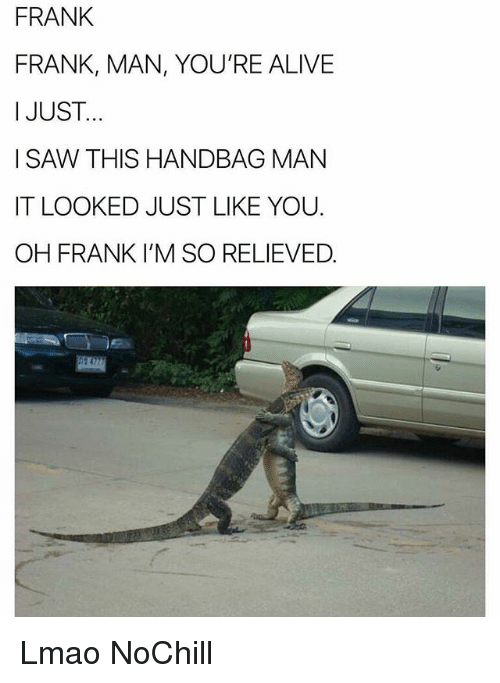 Alive, Funny, and Lmao: FRANK  FRANK, MAN, YOU'RE ALIVE  I JUST.  I SAW THIS HANDBAG MAN  IT LOOKED JUST LIKE YOU.  OH FRANK I'M SO RELIEVED. Lmao NoChill