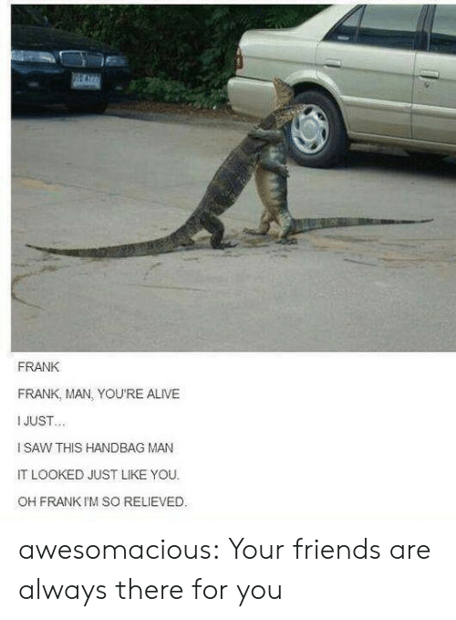 Alive, Friends, and Saw: FRANK  FRANK, MAN, YOU'RE ALIVE  I JUST  I SAW THIS HANDBAG MAN  IT LOOKED JUST LIKE YOU  OH FRANK I'M SO RELIEVED. awesomacious:  Your friends are always there for you