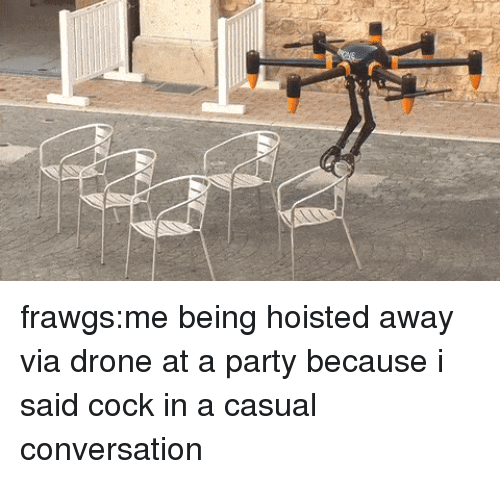 Drone, Party, and Tumblr: frawgs:me being hoisted away via drone at a party because i said cock in a casual conversation