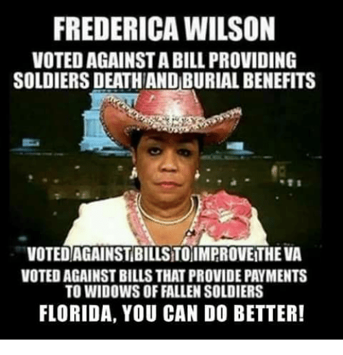 Memes, Soldiers, and Death: FREDERICA WILSON  VOTED AGAINST A BILL PROVIDING  SOLDIERS DEATH AND BURIAL BENEFITS  VOTED AGAINST BILLS TOIMPROVE THE VA  VOTED AGAINST BILLS THAT PROVIDE PAYMENTS  TO WIDOWS OF FALLEN SOLDIERS  FLORIDA, YOU CAN DO BETTER!