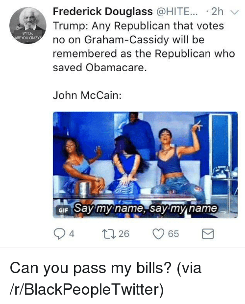 Blackpeopletwitter, Crazy, and Gif: Frederick Douglass @HITE... -2h v  Trump: Any Republican that votes  no on Graham-Cassidy will be  remembered as the Republican who  saved Obamacare.  B TCH  ARE YOU CRAZY  John McCain:  GIF Say my name, say'mn name  94  26 <p>Can you pass my bills? (via /r/BlackPeopleTwitter)</p>