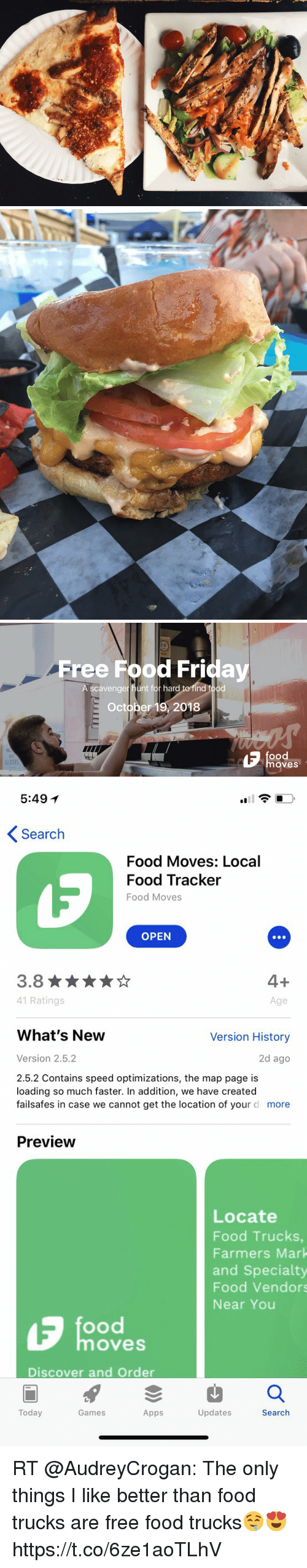 Food, Friday, and Memes: Free Food Friday  scavenger hunt for hard to find food  October 19, 2018  ood  BEST  SLIDERS  oves   5:49 1  Search  Food Moves: Local  Food Tracker  Food Moves  OPEN  3.8  41 Ratings  Age  What's New  Version History  Version 2.5.2  2d ago  2.5.2 Contains speed optimizations, the map page is  loading so much faster. In addition, we have created  failsafes in case we cannot get the location of your d more  Preview  Locate  Food Trucks  Farmers Mark  and Specialty  Food Vendors  Near You  ood  oves  Discover and Order  Today  Games  Apps  Updates  Search RT @AudreyCrogan: The only things I like better than food trucks are free food trucks🤤😍 https://t.co/6ze1aoTLhV