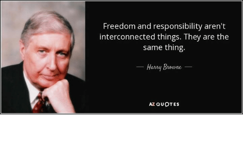 Memes, Quotes, and Freedom: Freedom and responsibility aren't  interconnected things. They are the  same thing.  Hasny Breune  AZ QUOTES